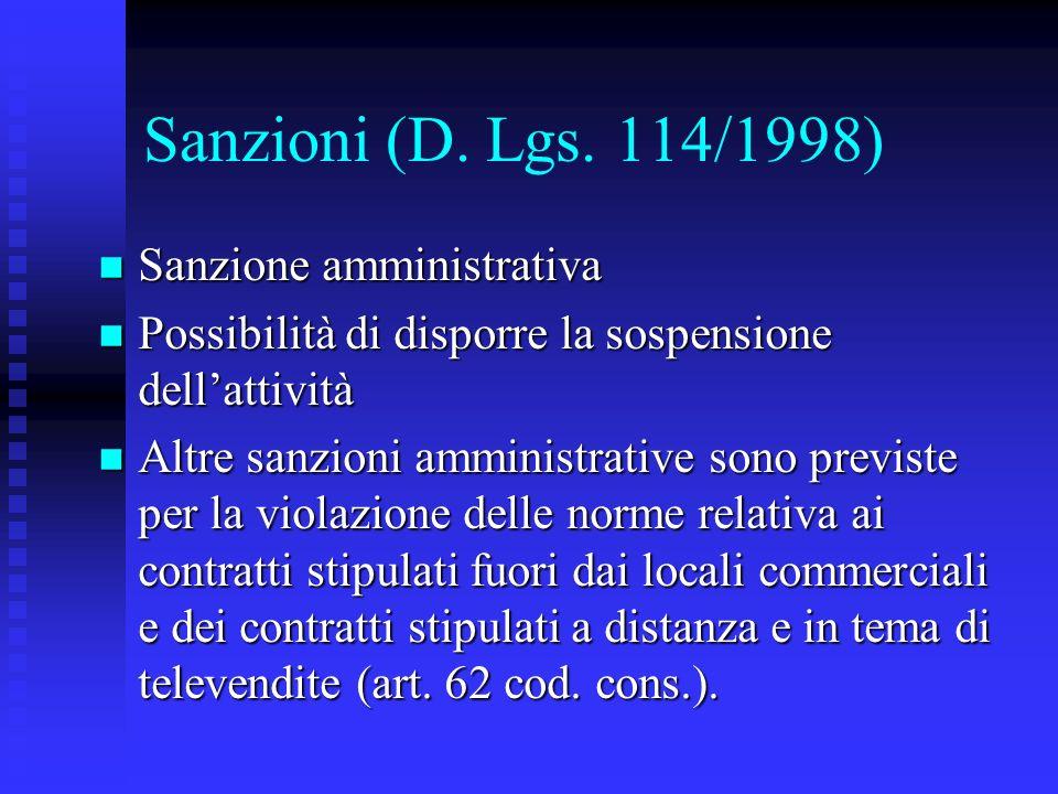 Sanzioni (D. Lgs. 114/1998) Sanzione amministrativa