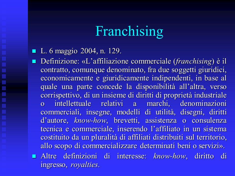Franchising L. 6 maggio 2004, n. 129.