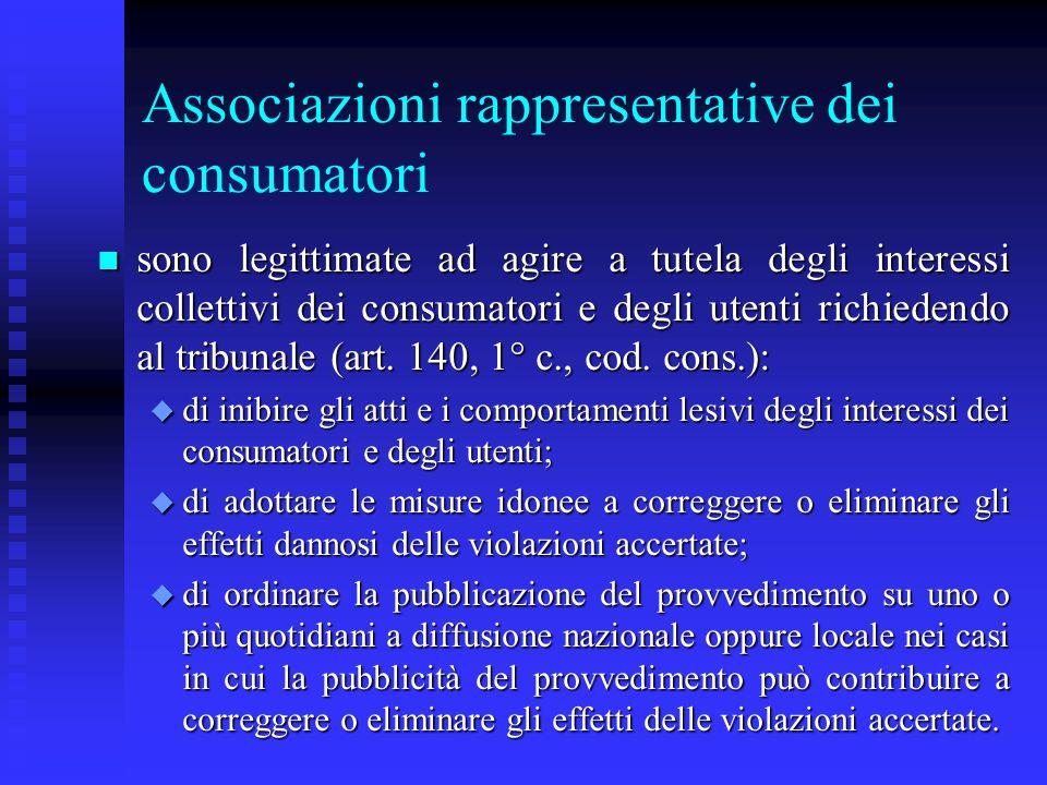 Associazioni rappresentative dei consumatori