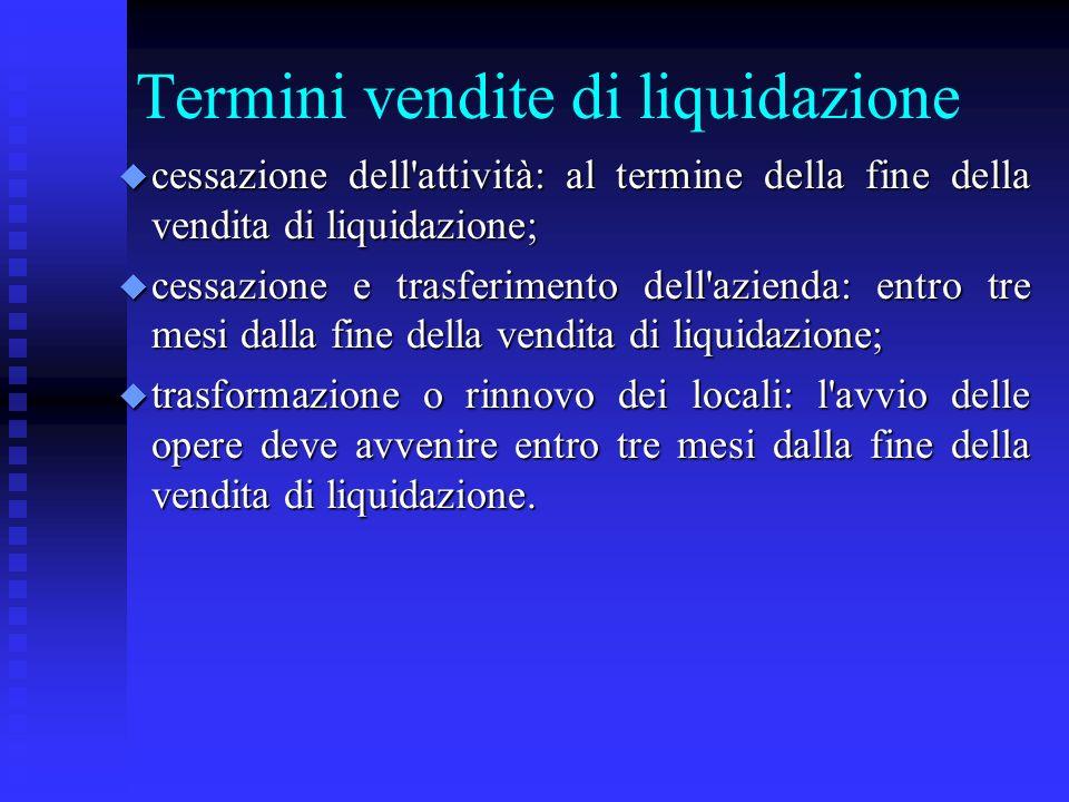 Termini vendite di liquidazione