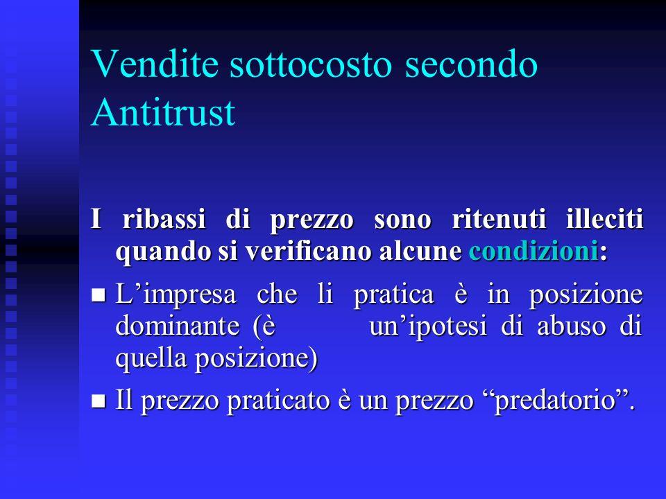 Vendite sottocosto secondo Antitrust
