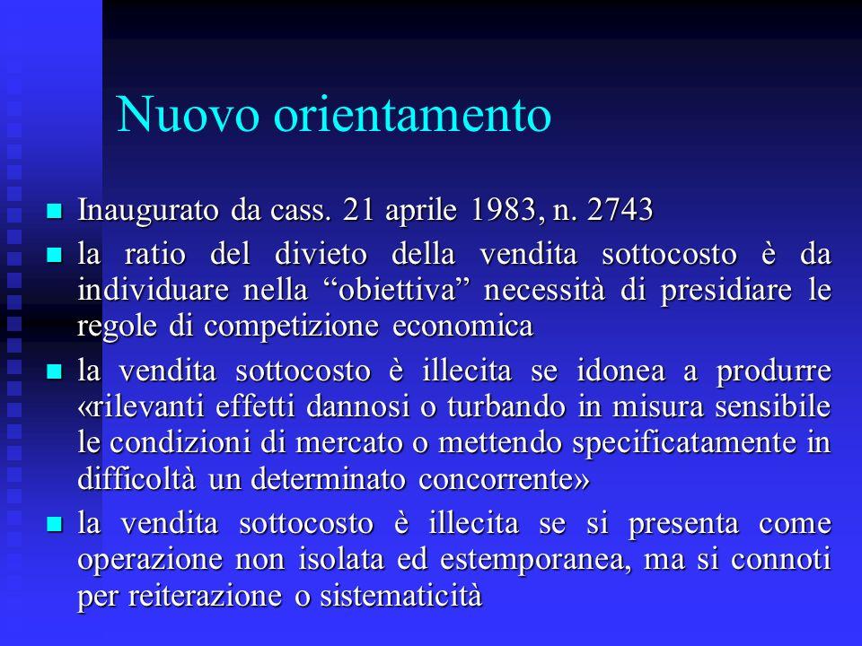 Nuovo orientamento Inaugurato da cass. 21 aprile 1983, n. 2743