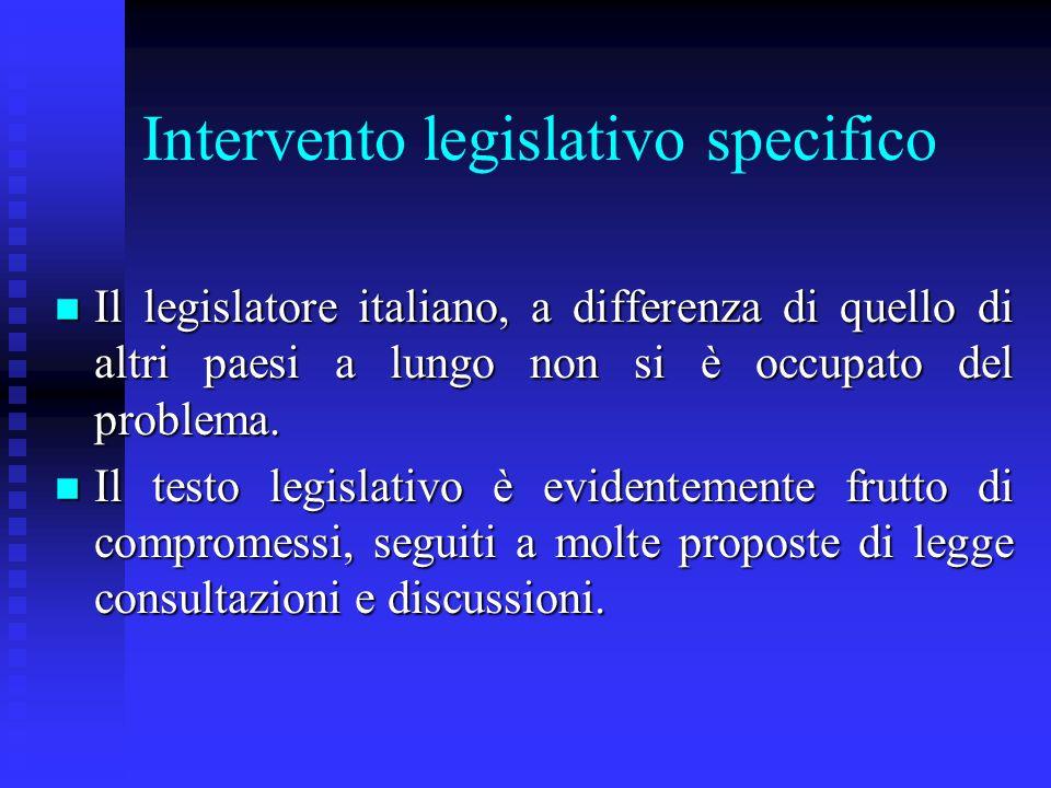 Intervento legislativo specifico