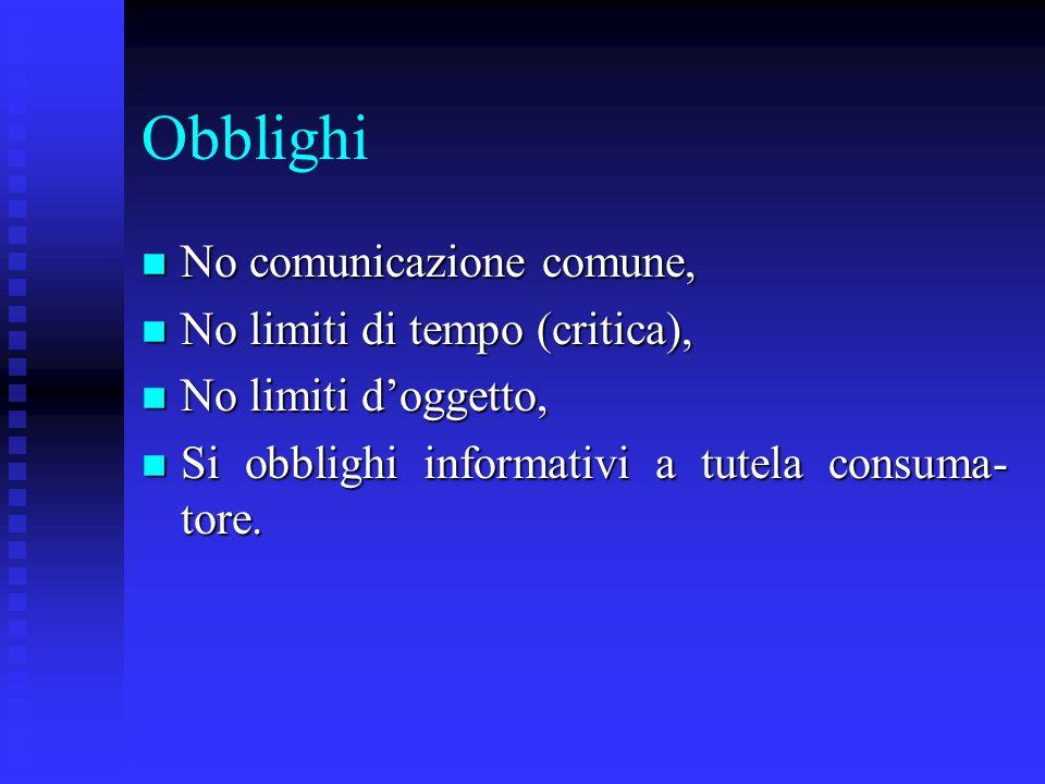 Obblighi No comunicazione comune, No limiti di tempo (critica),