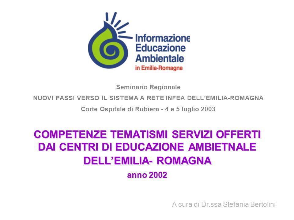 Seminario Regionale NUOVI PASSI VERSO IL SISTEMA A RETE INFEA DELL'EMILIA-ROMAGNA. Corte Ospitale di Rubiera - 4 e 5 luglio 2003.