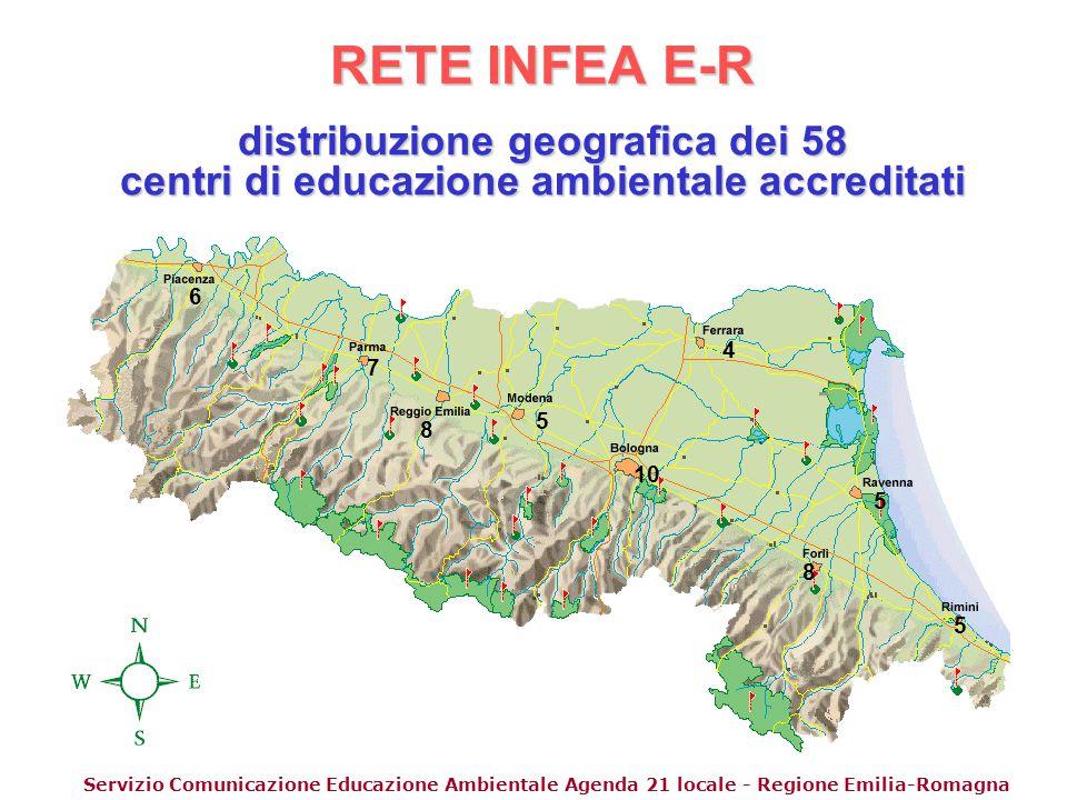 RETE INFEA E-R distribuzione geografica dei 58 centri di educazione ambientale accreditati