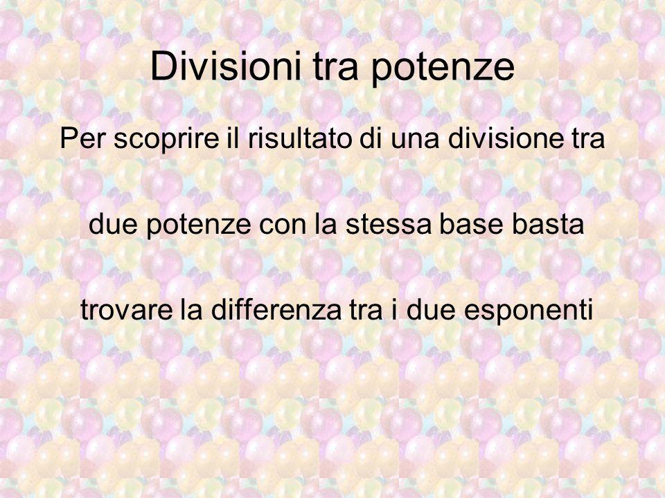Divisioni tra potenze Per scoprire il risultato di una divisione tra