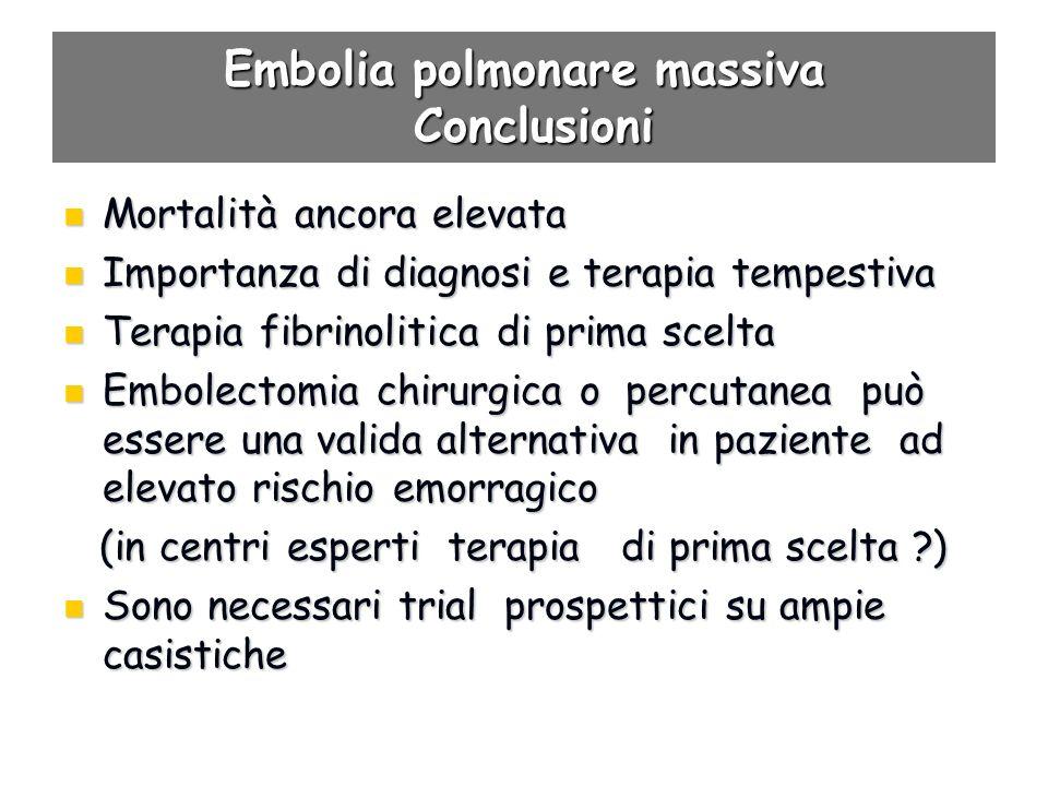 Embolia polmonare massiva Conclusioni