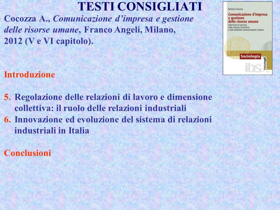 TESTI CONSIGLIATI Cocozza A., Comunicazione d'impresa e gestione