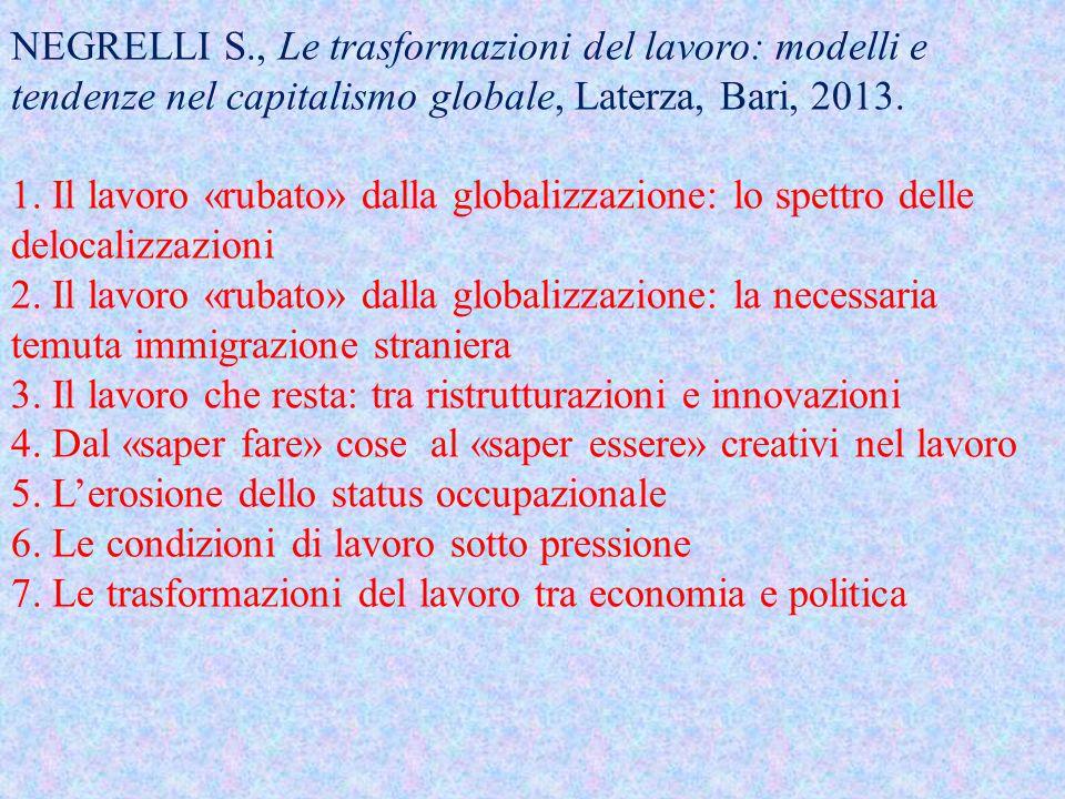 NEGRELLI S., Le trasformazioni del lavoro: modelli e tendenze nel capitalismo globale, Laterza, Bari, 2013.