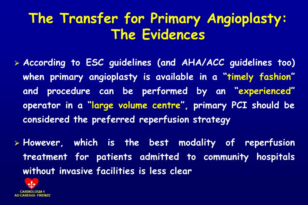 The Transfer for Primary Angioplasty: The Evidences