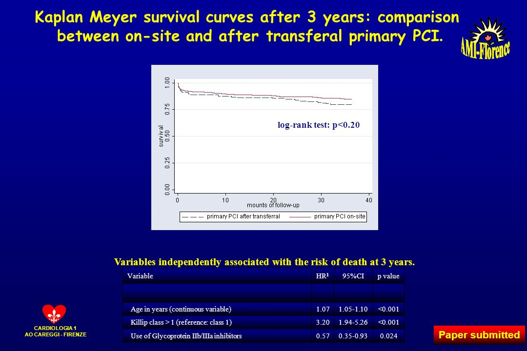 Kaplan Meyer survival curves after 3 years: comparison