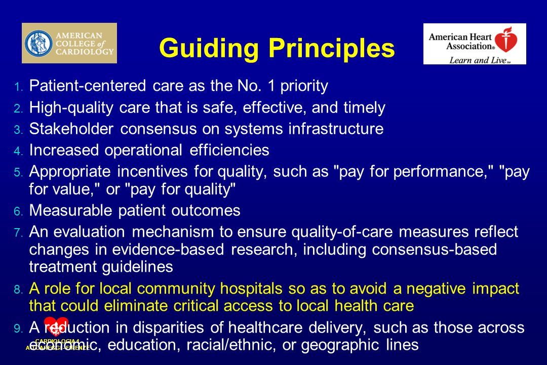 Guiding Principles Patient-centered care as the No. 1 priority