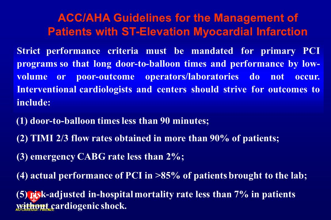 ACC/AHA Guidelines for the Management of Patients with ST-Elevation Myocardial Infarction
