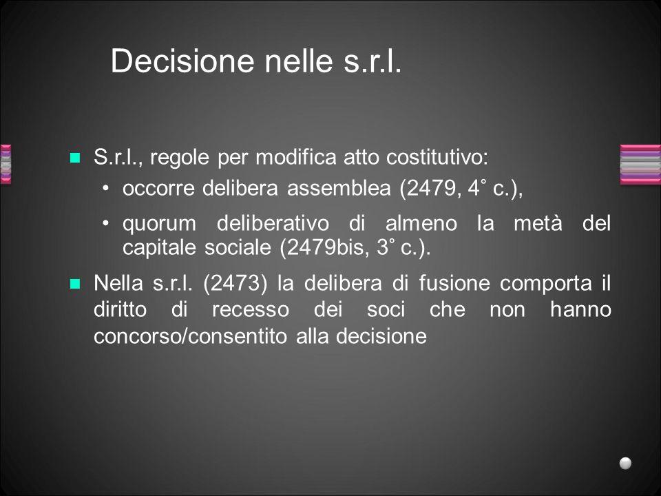 Decisione nelle s.r.l. S.r.l., regole per modifica atto costitutivo: