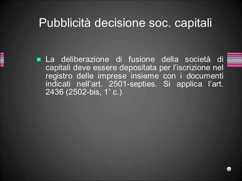 Pubblicità decisione soc. capitali