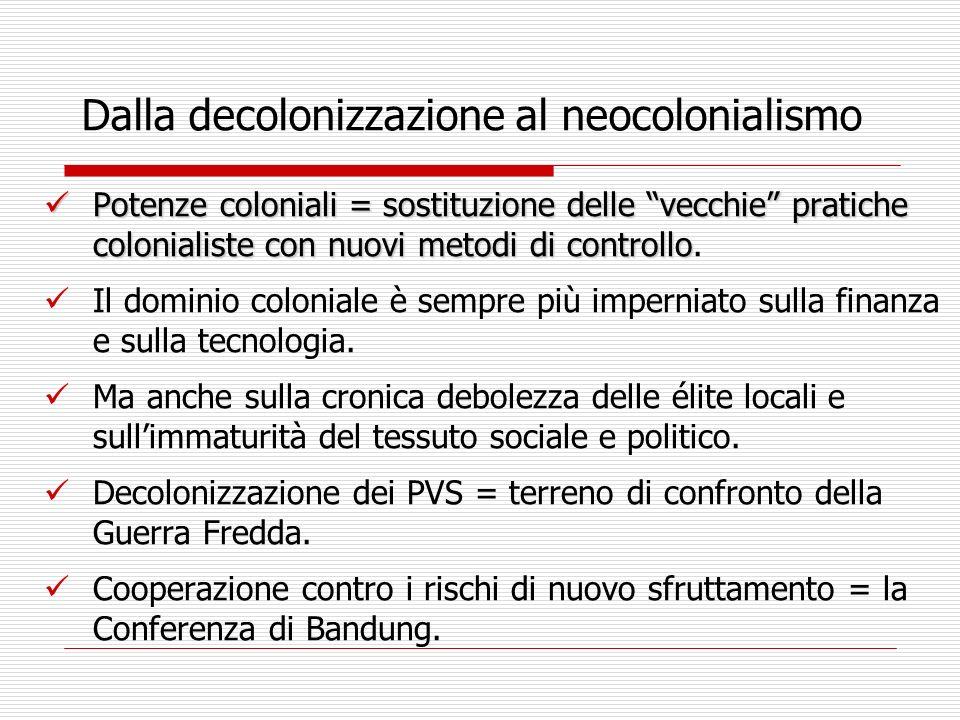 Dalla decolonizzazione al neocolonialismo