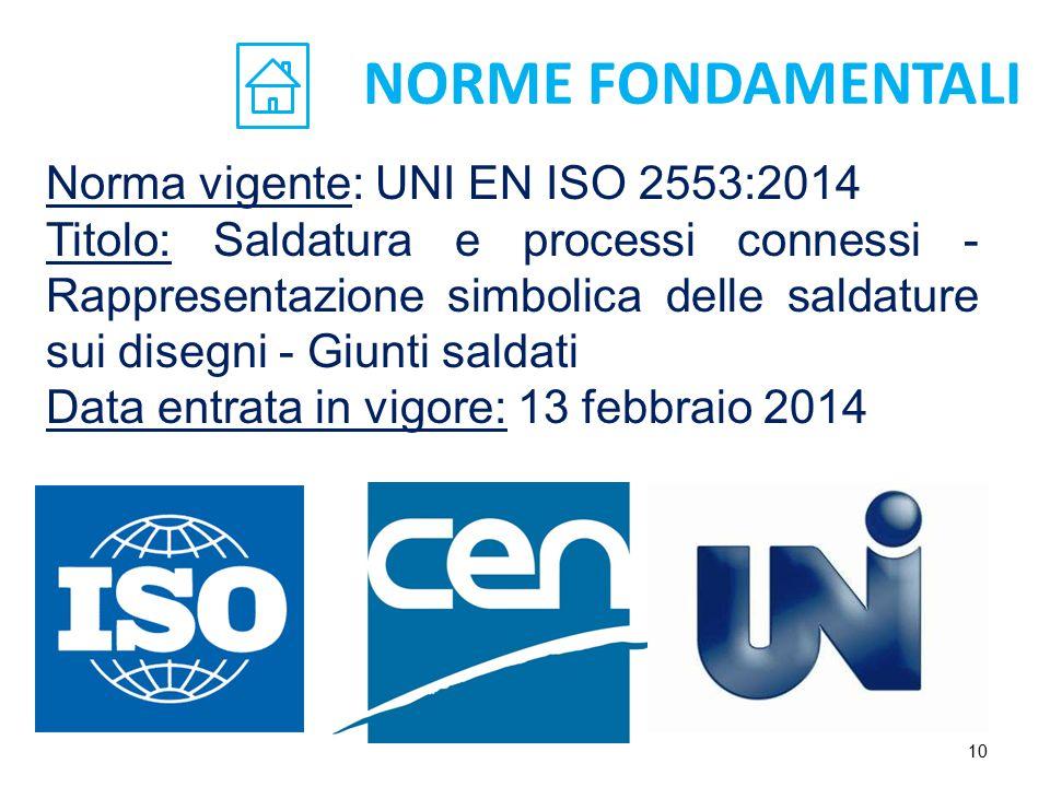 NORME FONDAMENTALI Norma vigente: UNI EN ISO 2553:2014