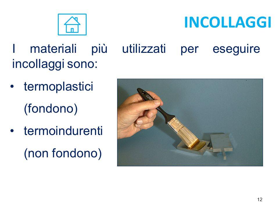 INCOLLAGGI I materiali più utilizzati per eseguire incollaggi sono: