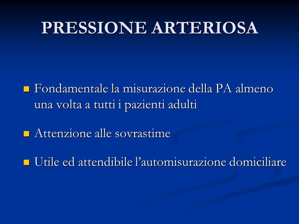 PRESSIONE ARTERIOSA Fondamentale la misurazione della PA almeno una volta a tutti i pazienti adulti.