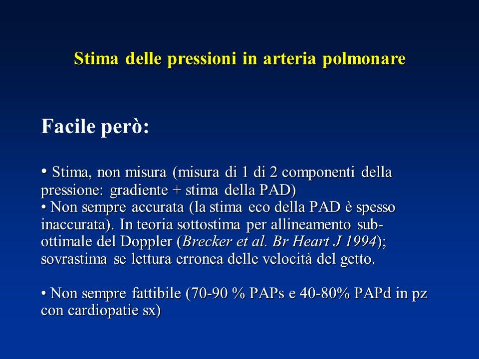Stima delle pressioni in arteria polmonare