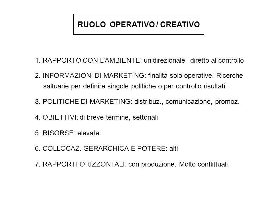 RUOLO OPERATIVO / CREATIVO
