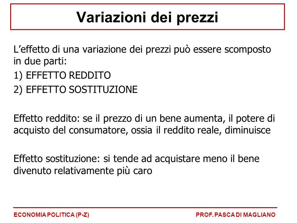 Variazioni dei prezzi L'effetto di una variazione dei prezzi può essere scomposto in due parti: EFFETTO REDDITO.