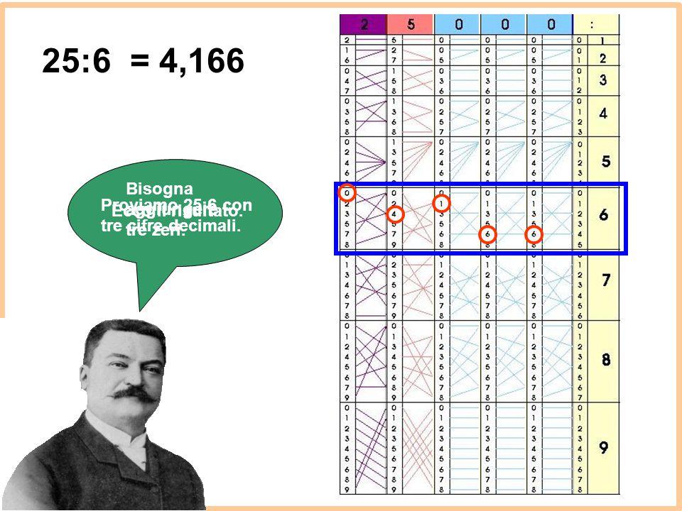 25:6 = 4,166 Bisogna aggiungere tre zeri.
