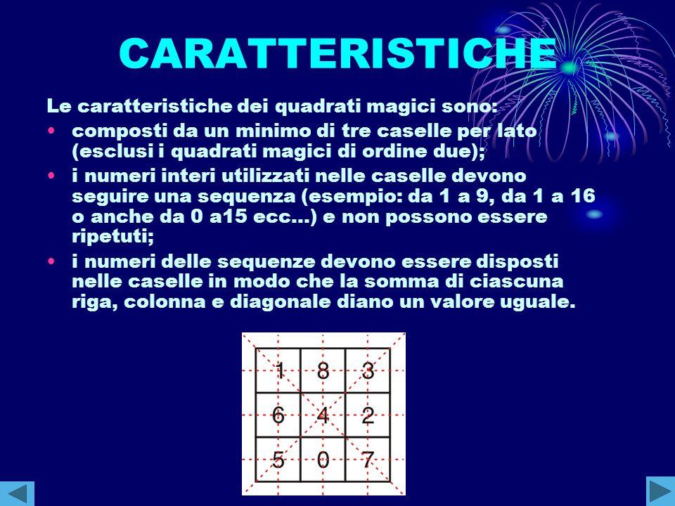 CARATTERISTICHE Le caratteristiche dei quadrati magici sono: