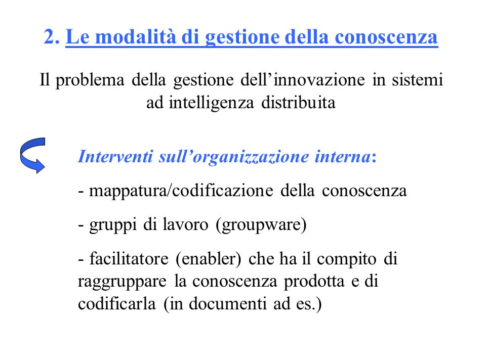 2. Le modalità di gestione della conoscenza