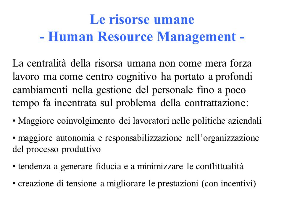 Le risorse umane - Human Resource Management -