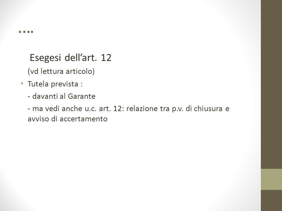 …. Esegesi dell'art. 12 (vd lettura articolo) Tutela prevista :