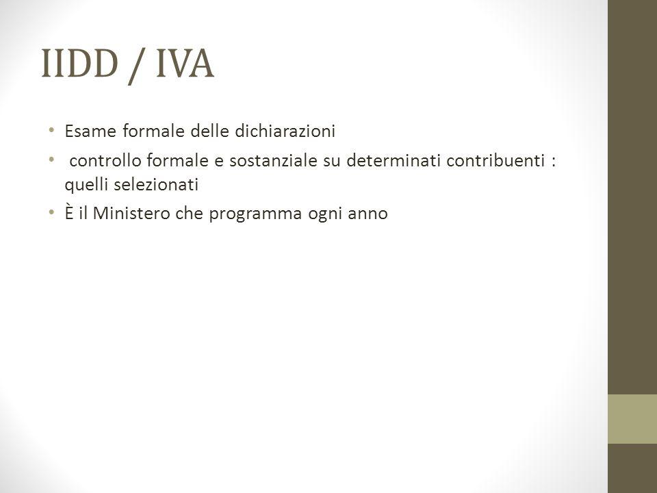 IIDD / IVA Esame formale delle dichiarazioni