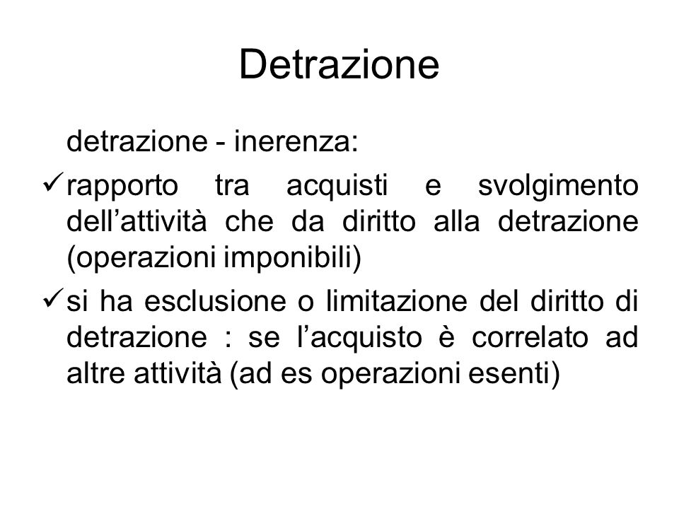 Detrazione detrazione - inerenza: