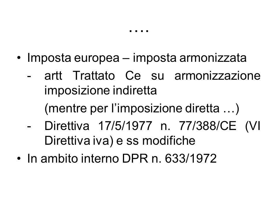 …. Imposta europea – imposta armonizzata