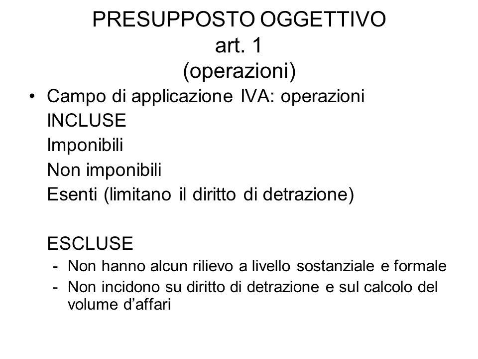 PRESUPPOSTO OGGETTIVO art. 1 (operazioni)