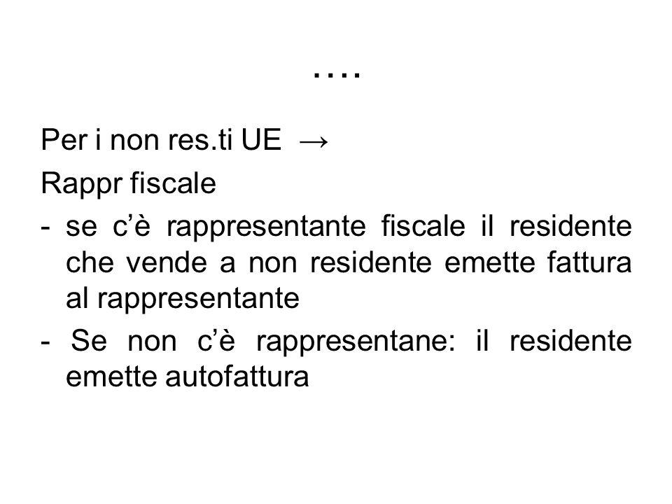…. Per i non res.ti UE → Rappr fiscale