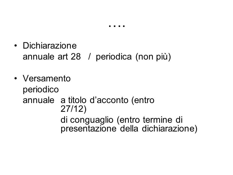 …. Dichiarazione annuale art 28 / periodica (non più) Versamento