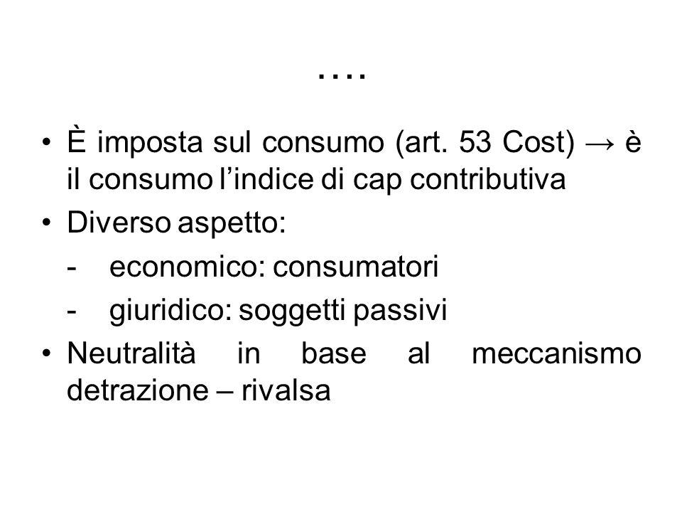 …. È imposta sul consumo (art. 53 Cost) → è il consumo l'indice di cap contributiva. Diverso aspetto: