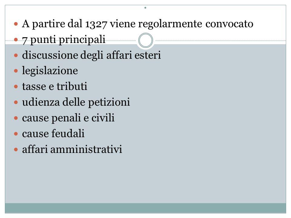 . A partire dal 1327 viene regolarmente convocato 7 punti principali