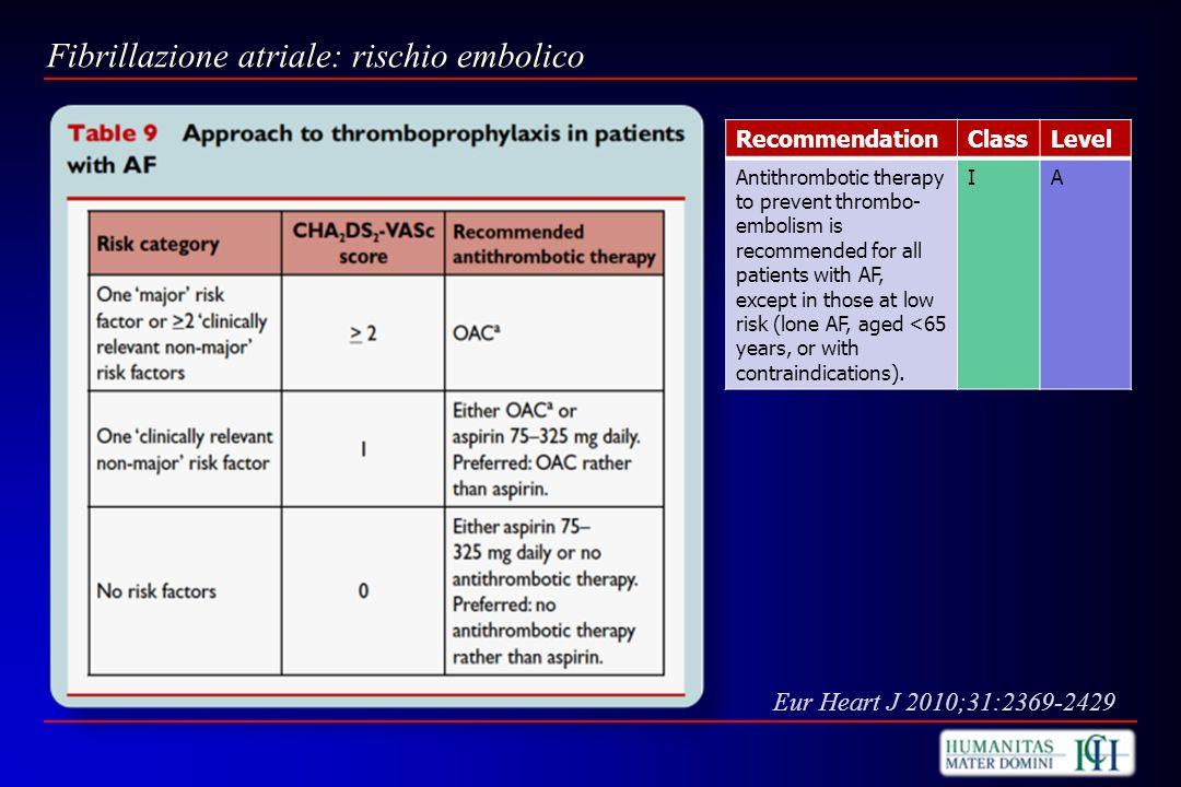Fibrillazione atriale: rischio embolico