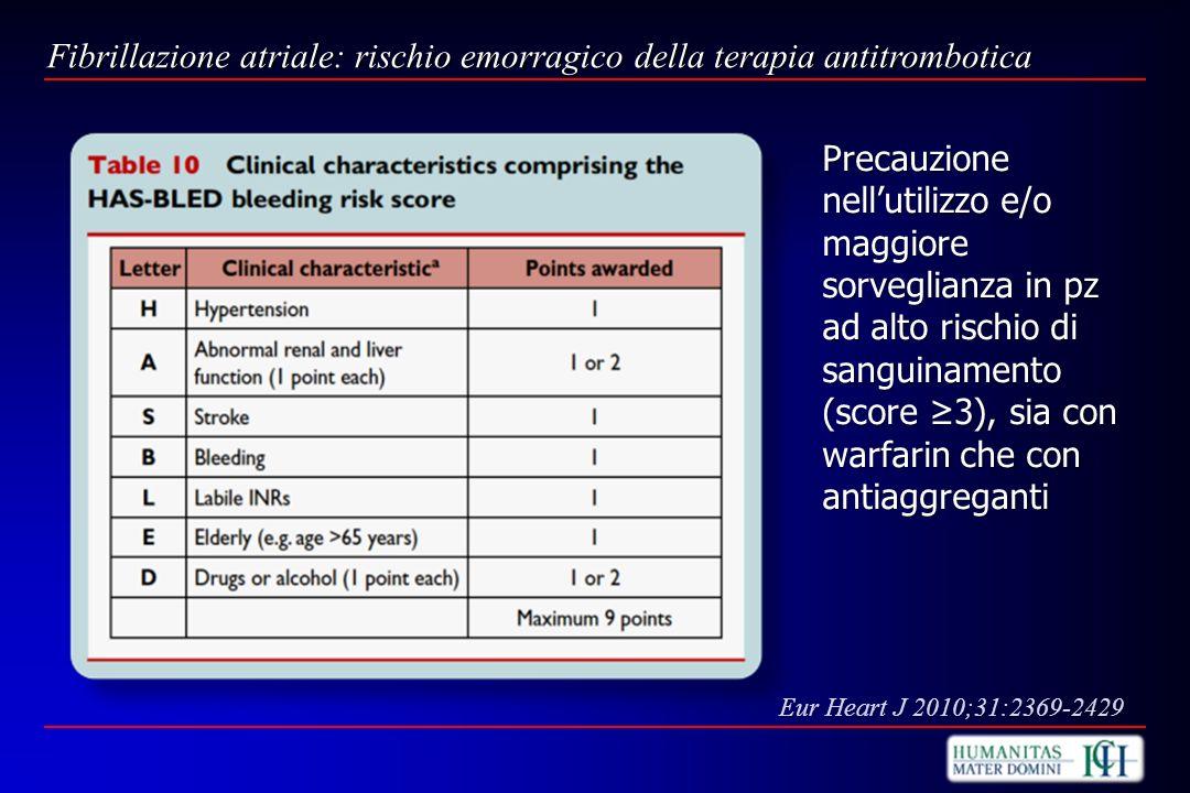 Fibrillazione atriale: rischio emorragico della terapia antitrombotica