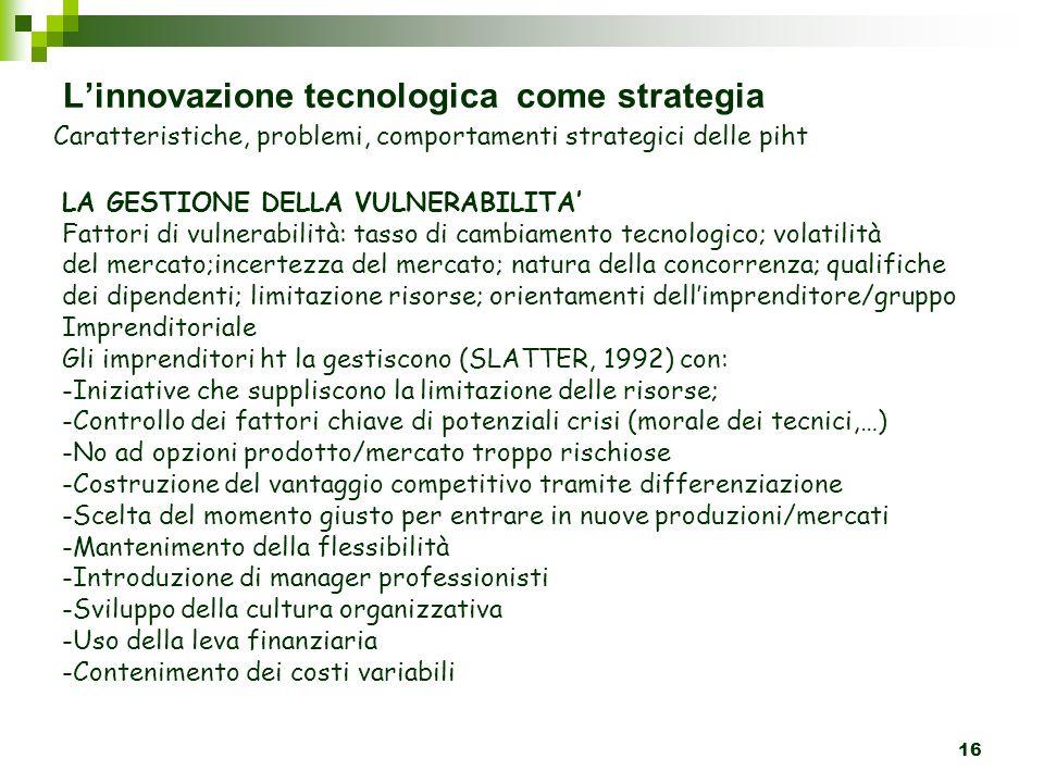 L'innovazione tecnologica come strategia