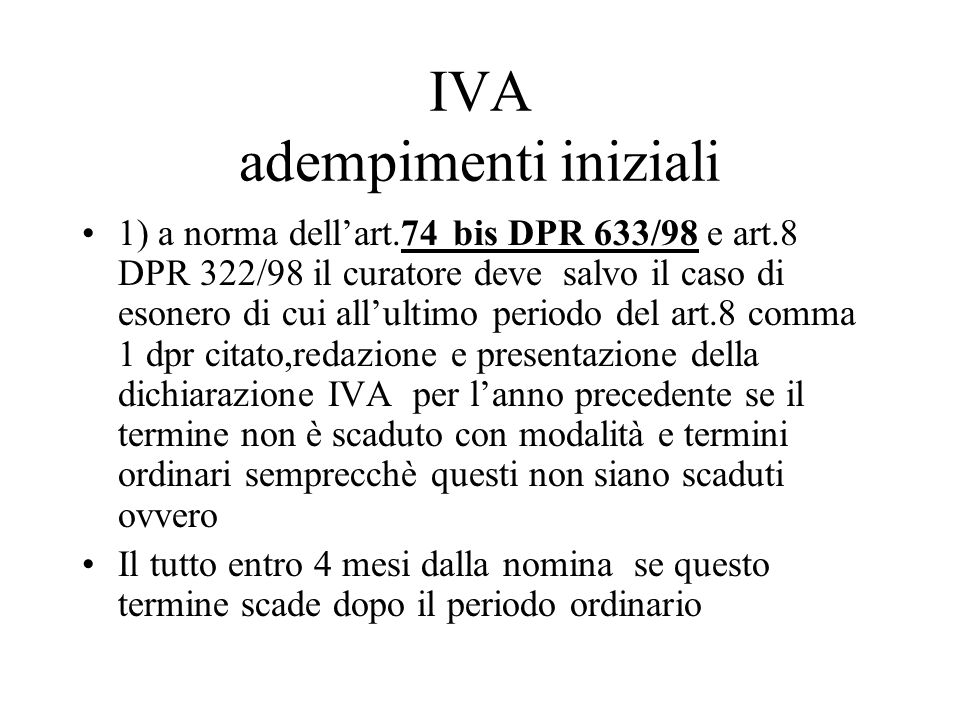 IVA adempimenti iniziali