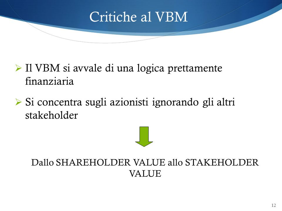Dallo SHAREHOLDER VALUE allo STAKEHOLDER VALUE