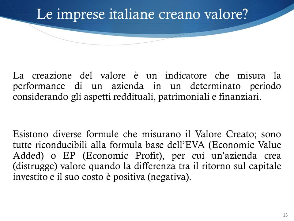 Le imprese italiane creano valore
