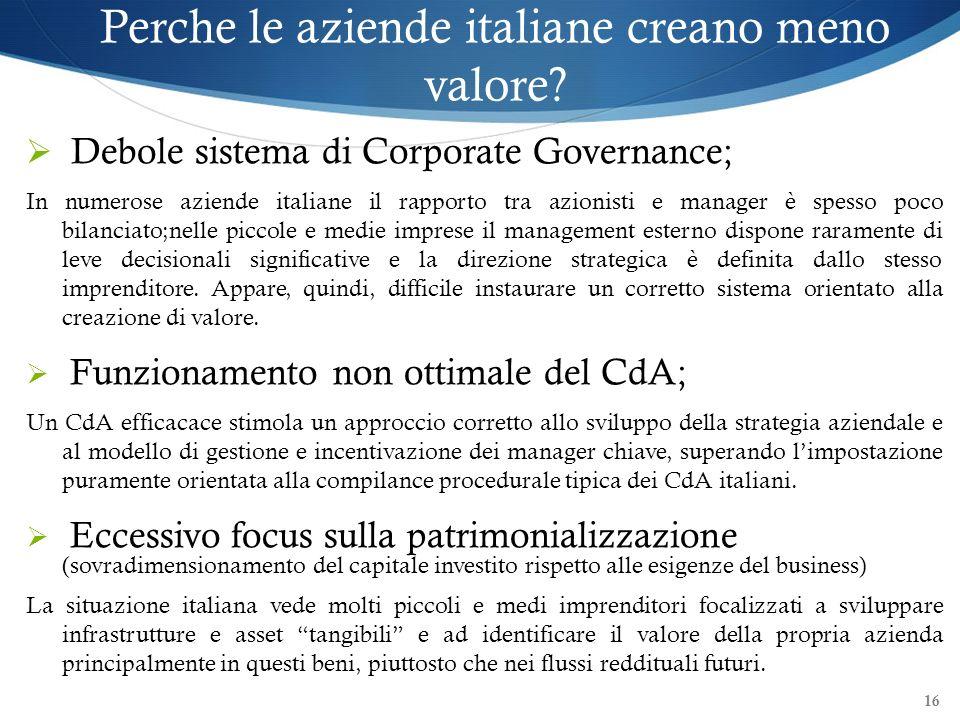 Perche le aziende italiane creano meno valore