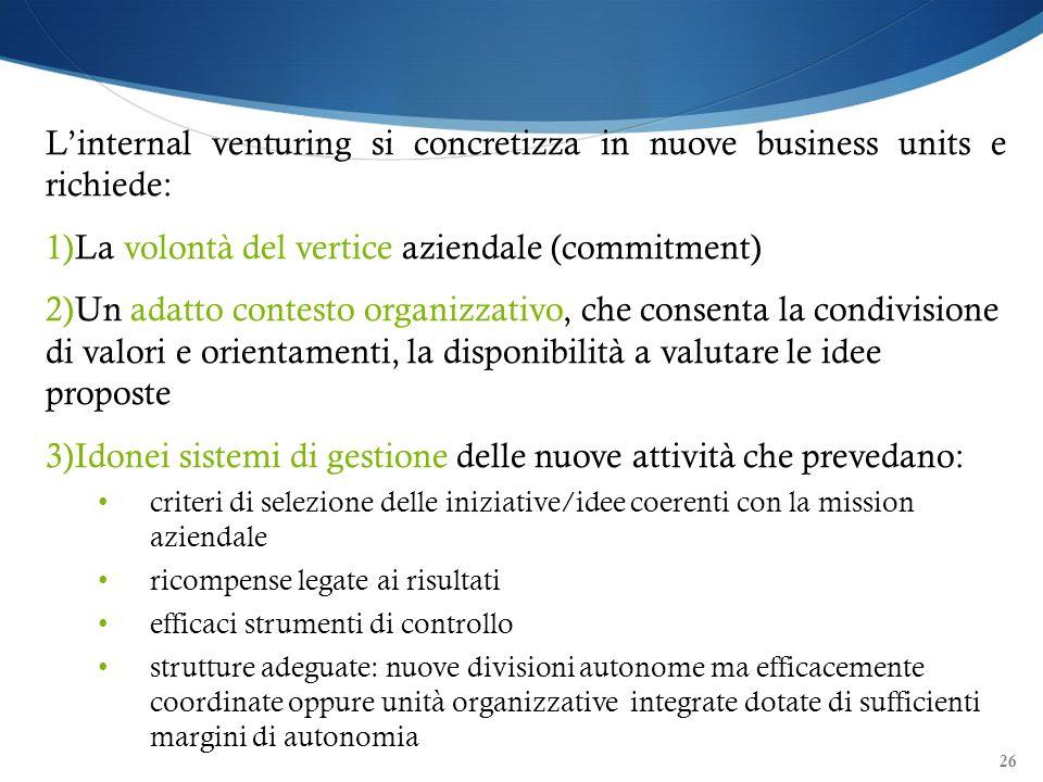 La volontà del vertice aziendale (commitment)