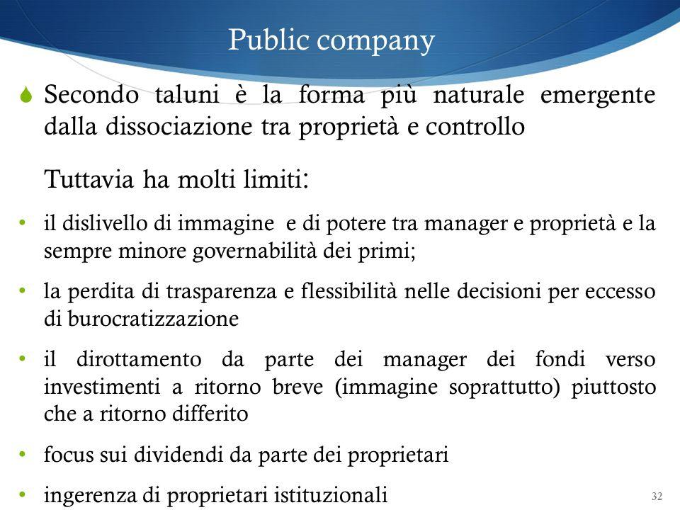 Public company Secondo taluni è la forma più naturale emergente dalla dissociazione tra proprietà e controllo.