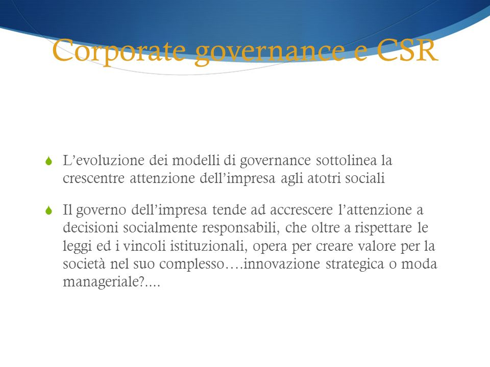 Corporate governance e CSR